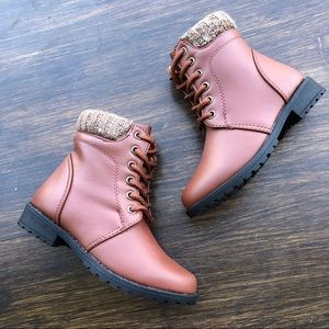 Girls Brown Lace Up Ankle Warm Combat Booties